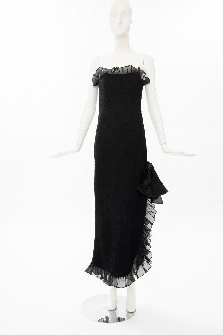 Yves Saint Laurent Rive Gauche Black Silk Strapless Evening Dress, Circa: 1980's For Sale 8