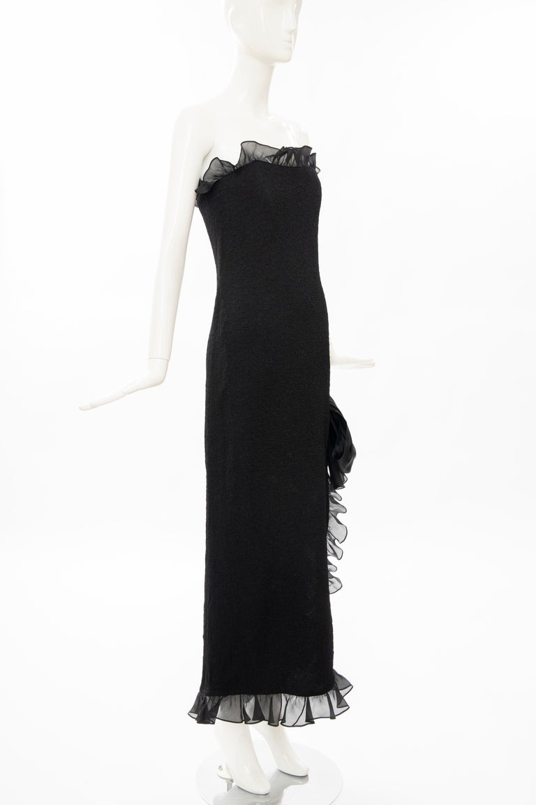 Yves Saint Laurent Rive Gauche Black Silk Strapless Evening Dress, Circa: 1980's In Excellent Condition For Sale In Cincinnati, OH