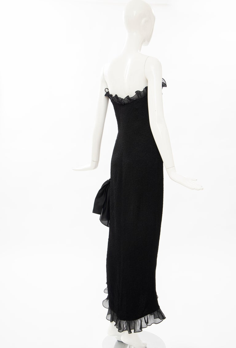Yves Saint Laurent Rive Gauche Black Silk Strapless Evening Dress, Circa: 1980's For Sale 1
