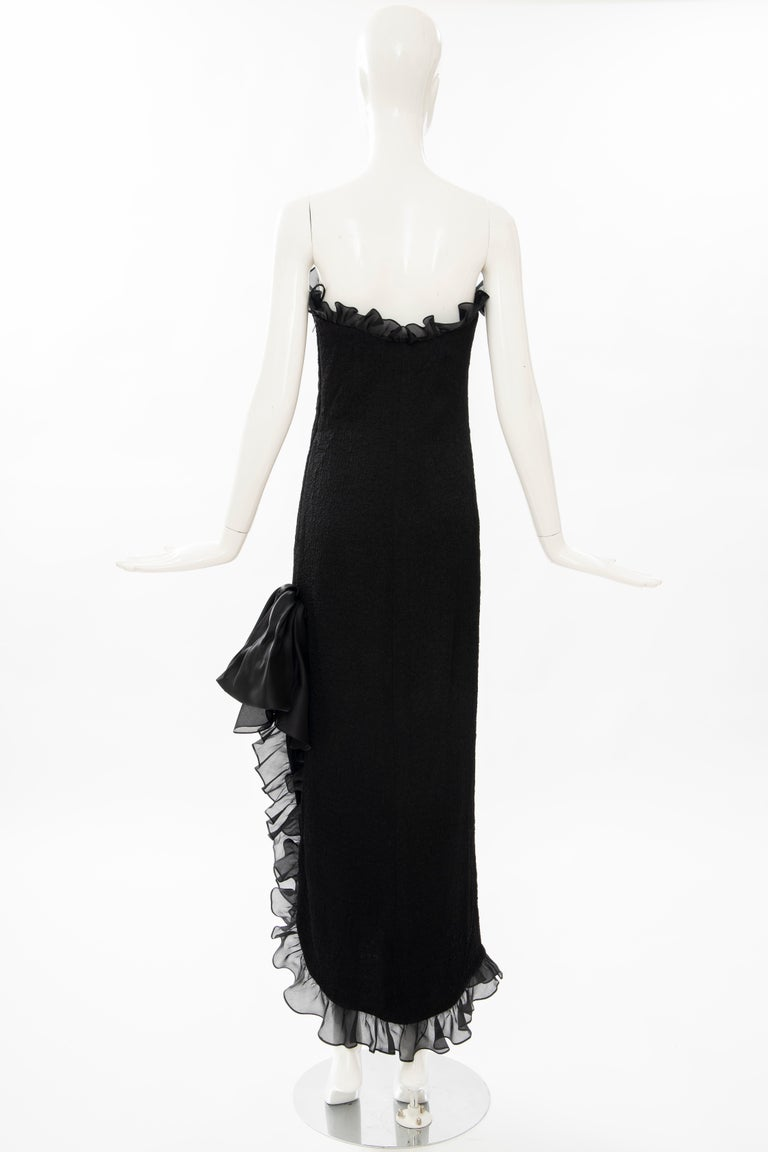 Yves Saint Laurent Rive Gauche Black Silk Strapless Evening Dress, Circa: 1980's For Sale 2