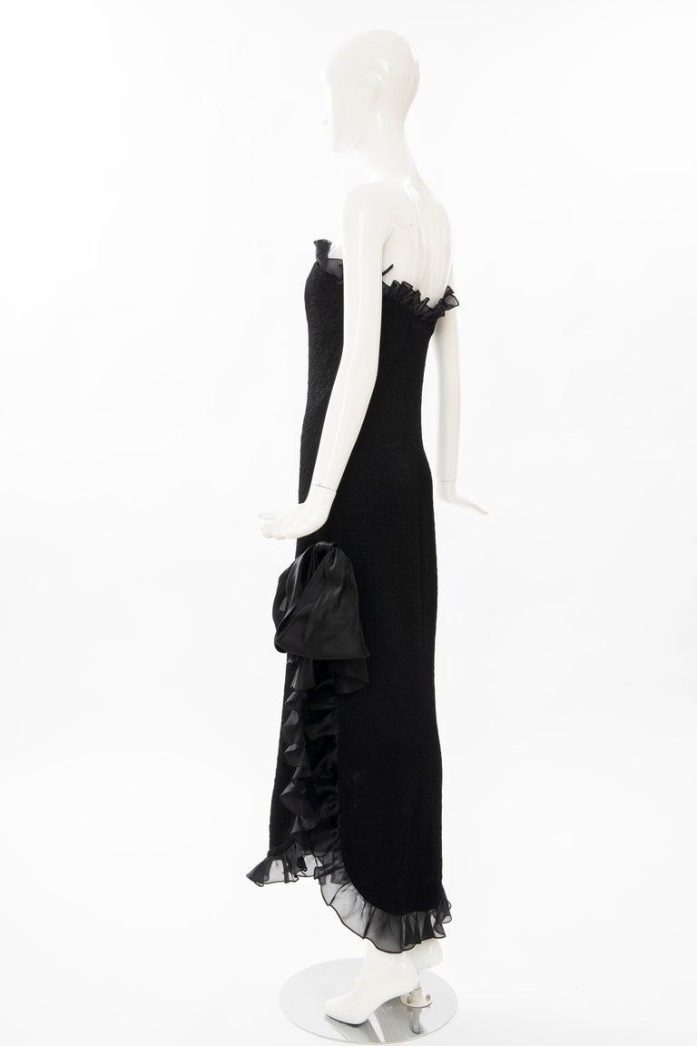 Yves Saint Laurent Rive Gauche Black Silk Strapless Evening Dress, Circa: 1980's For Sale 3