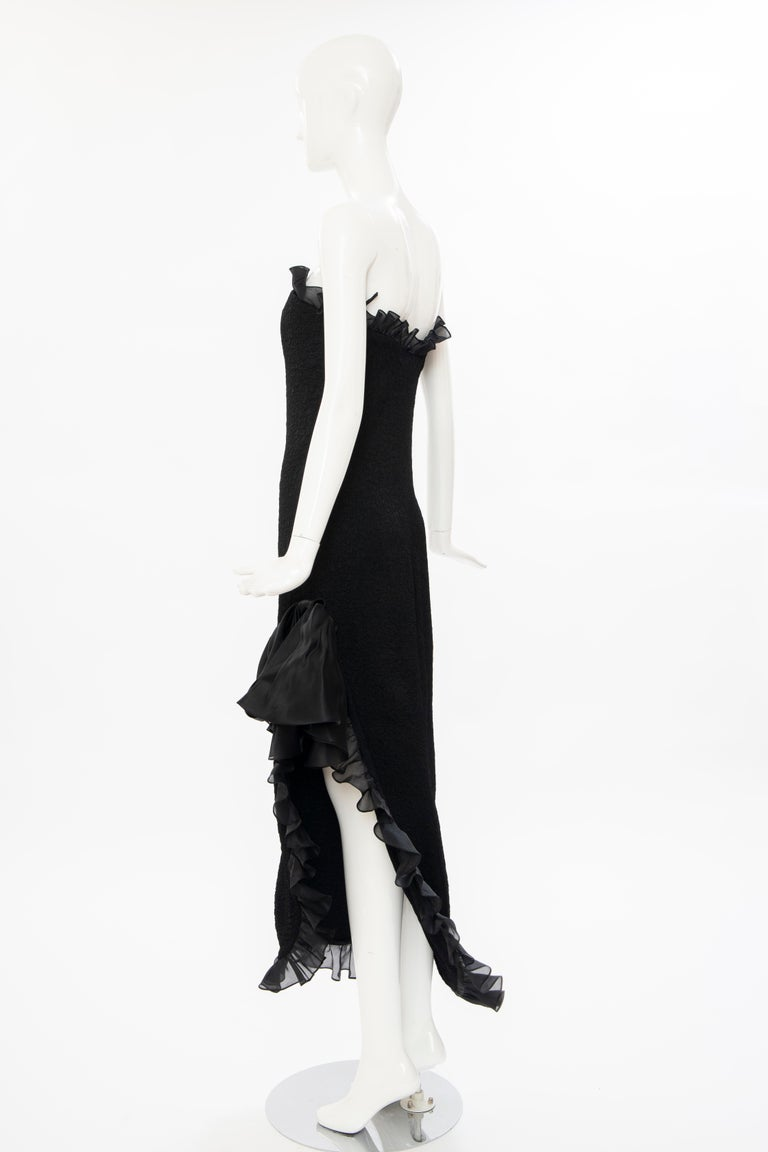 Yves Saint Laurent Rive Gauche Black Silk Strapless Evening Dress, Circa: 1980's For Sale 4