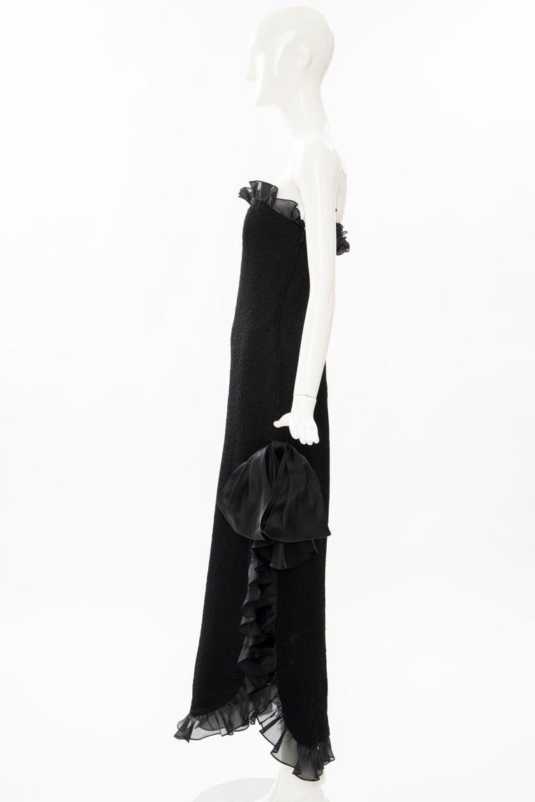 Yves Saint Laurent Rive Gauche Black Silk Strapless Evening Dress, Circa: 1980's For Sale 5