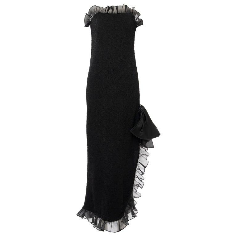 Yves Saint Laurent Rive Gauche Black Silk Strapless Evening Dress, Circa: 1980's For Sale
