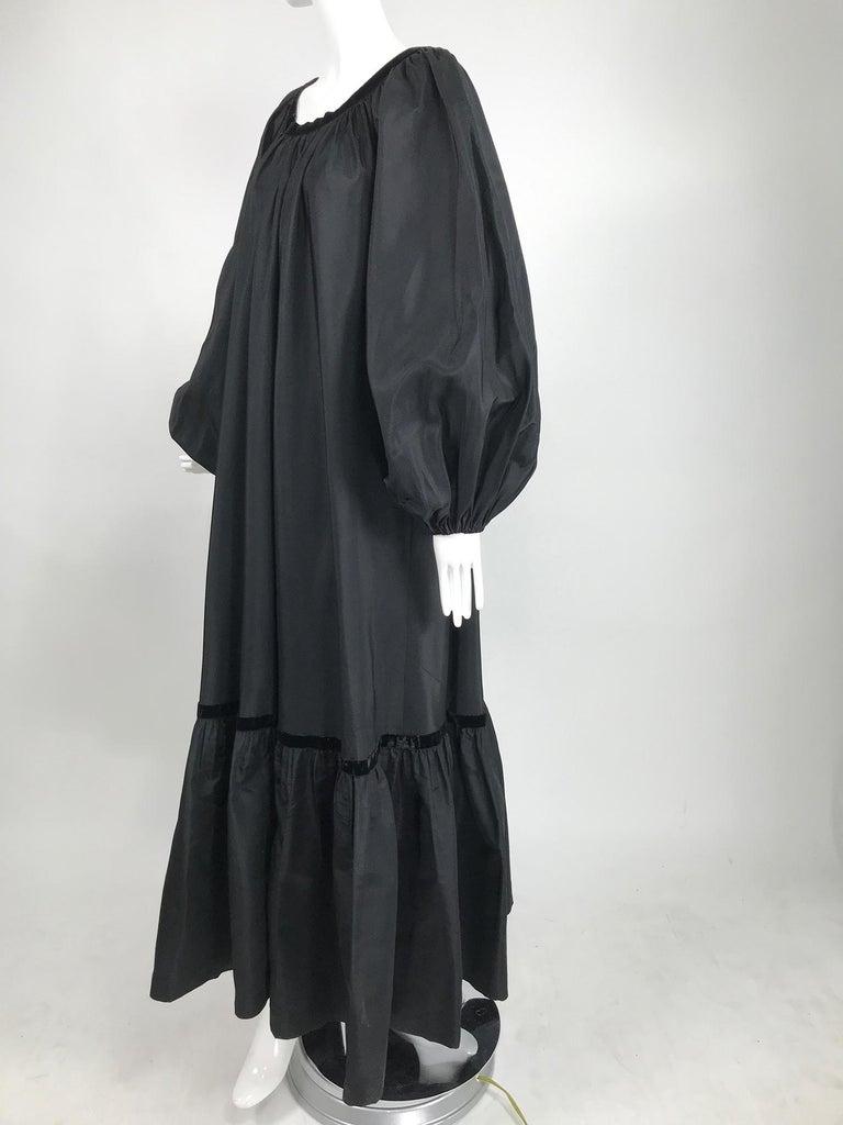 Yves Saint Laurent Rive Gauche Black Silk Taffeta Gown 1970s 7