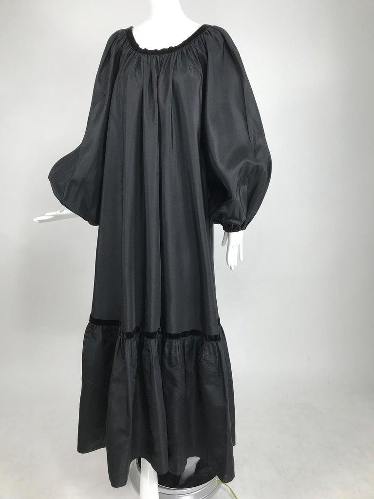 Yves Saint Laurent Rive Gauche Black Silk Taffeta Gown 1970s 8