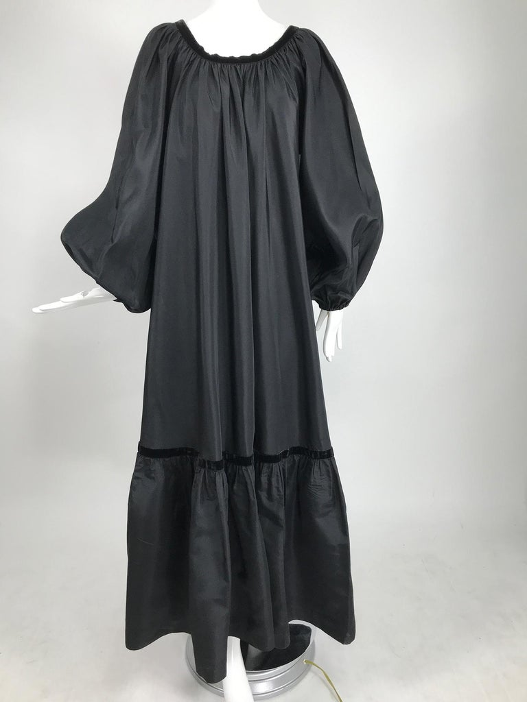 Yves Saint Laurent Rive Gauche Black Silk Taffeta Gown 1970s 9