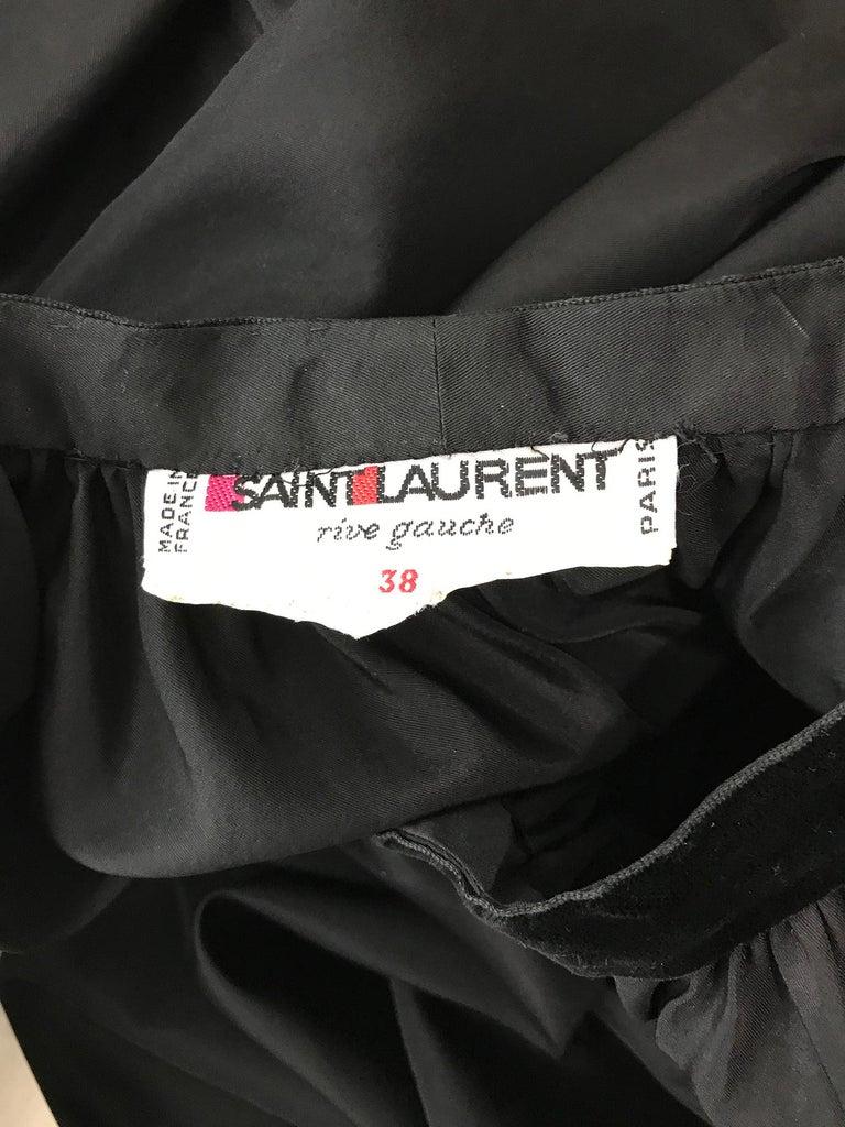 Yves Saint Laurent Rive Gauche Black Silk Taffeta Gown 1970s 10