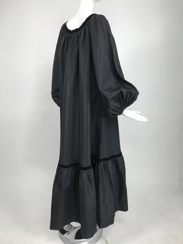 Yves Saint Laurent Rive Gauche Black Silk Taffeta Gown 1970s 1