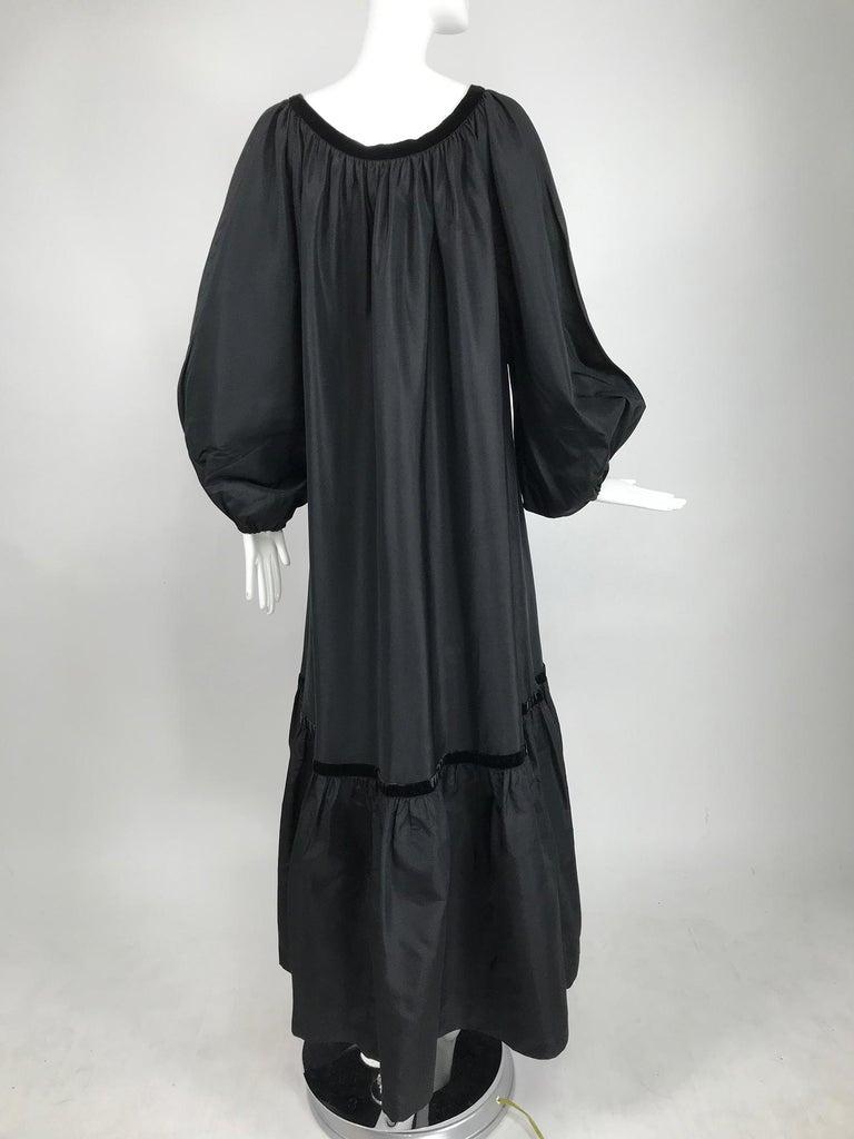 Yves Saint Laurent Rive Gauche Black Silk Taffeta Gown 1970s 2