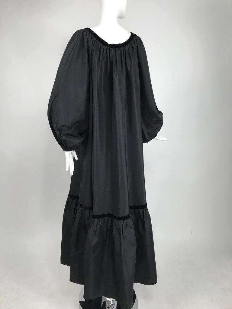 Yves Saint Laurent Rive Gauche Black Silk Taffeta Gown 1970s 3