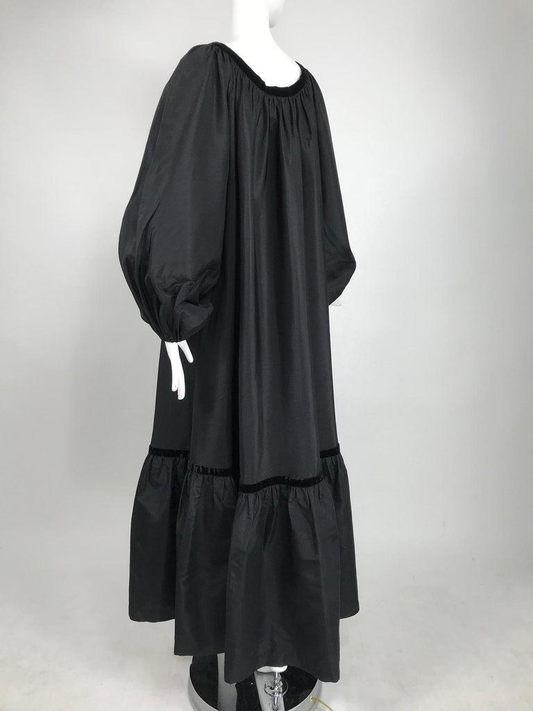 Yves Saint Laurent Rive Gauche Black Silk Taffeta Gown 1970s 4