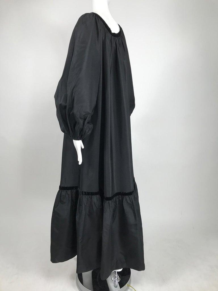 Yves Saint Laurent Rive Gauche Black Silk Taffeta Gown 1970s 5