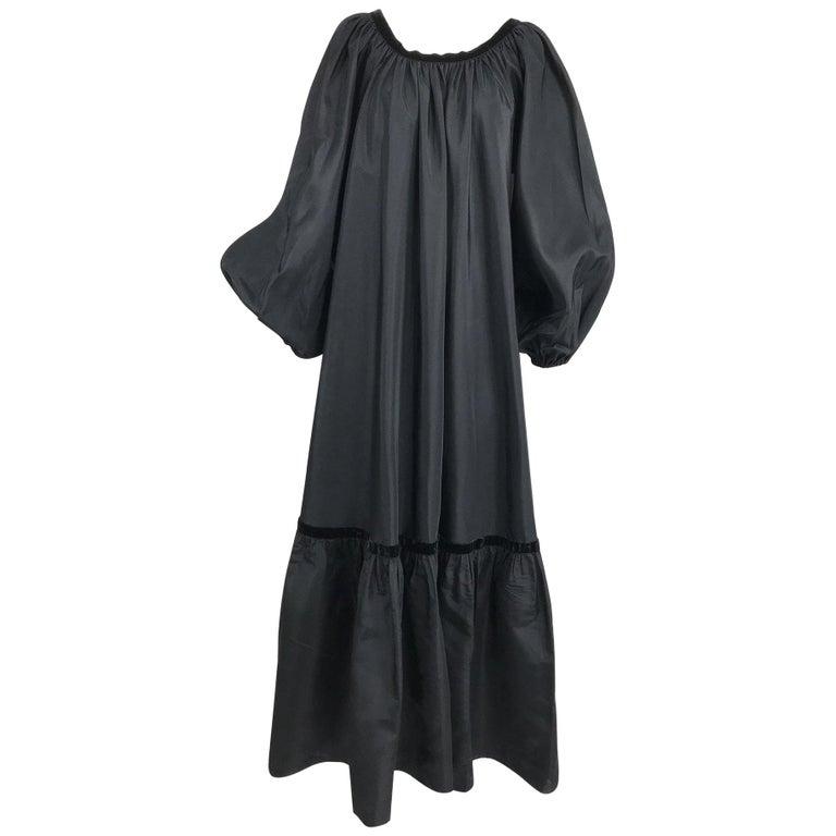 Yves Saint Laurent Rive Gauche Black Silk Taffeta Gown 1970s