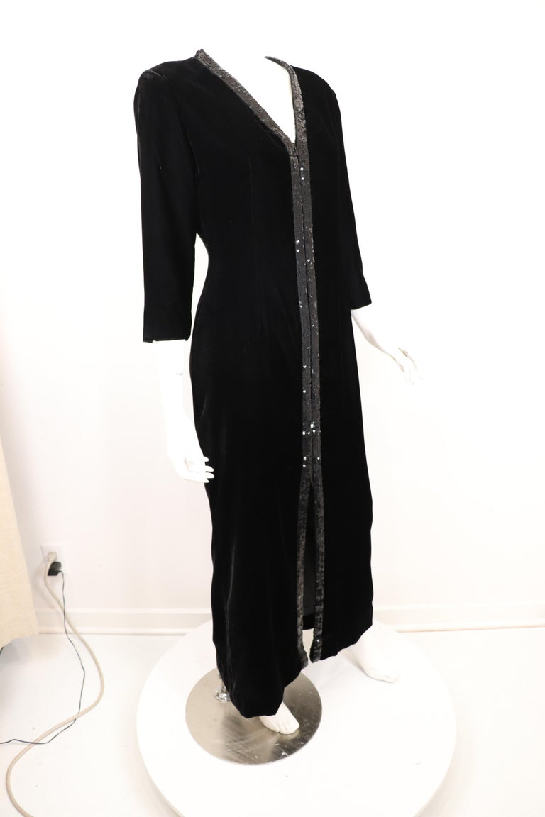 Yves Saint Laurent Rive Gauche Black Velvet & Sequins Gown 1970's In Excellent Condition For Sale In Carmel by the Sea, CA