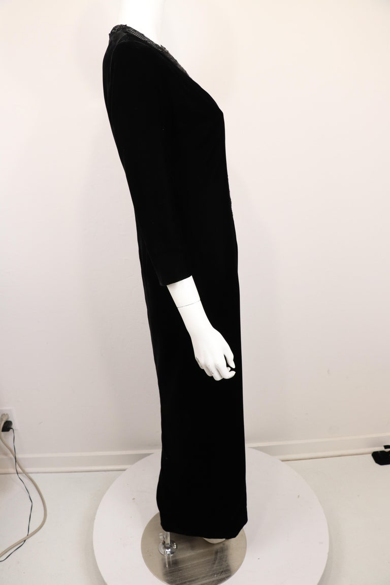 Women's Yves Saint Laurent Rive Gauche Black Velvet & Sequins Gown 1970's For Sale