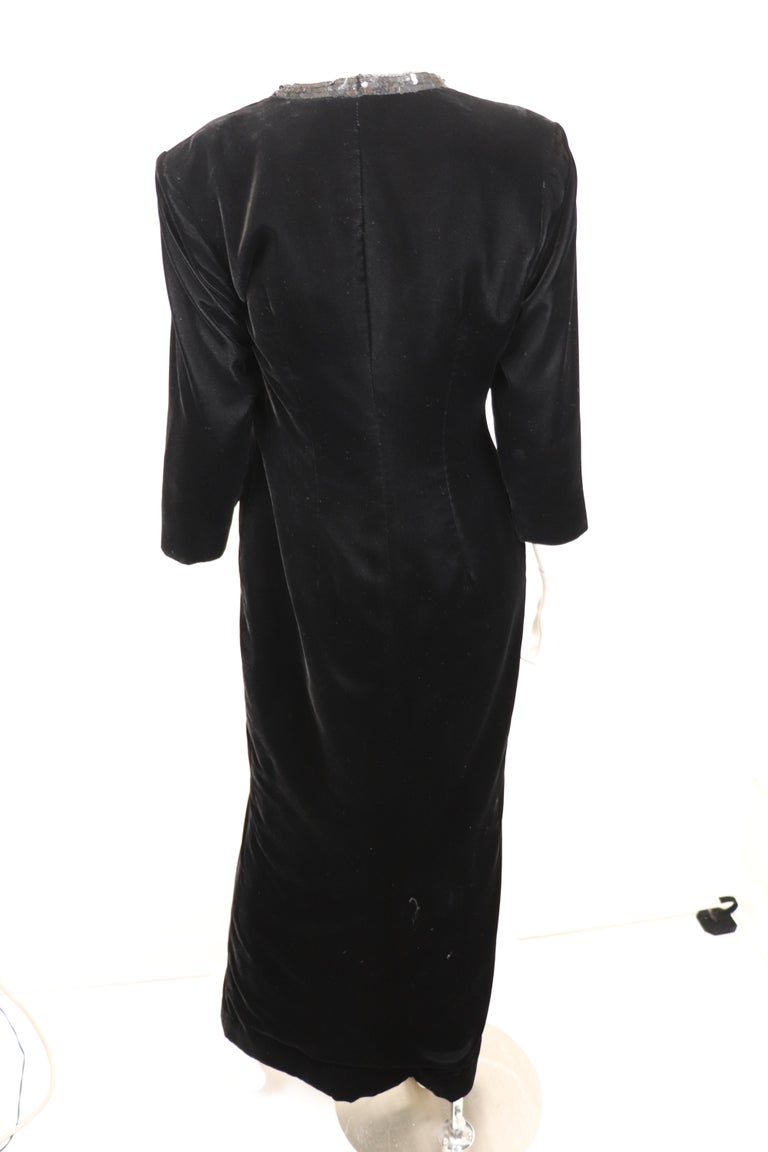 Yves Saint Laurent Rive Gauche Black Velvet & Sequins Gown 1970's For Sale 1