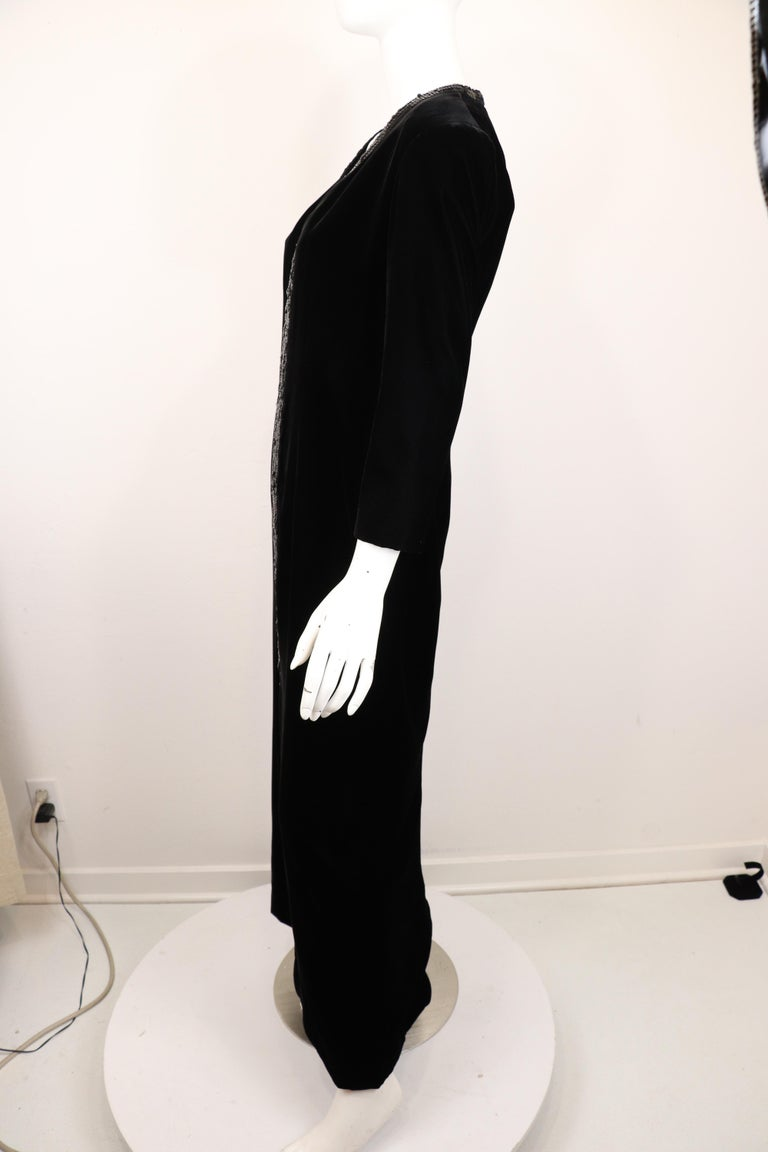 Yves Saint Laurent Rive Gauche Black Velvet & Sequins Gown 1970's For Sale 2