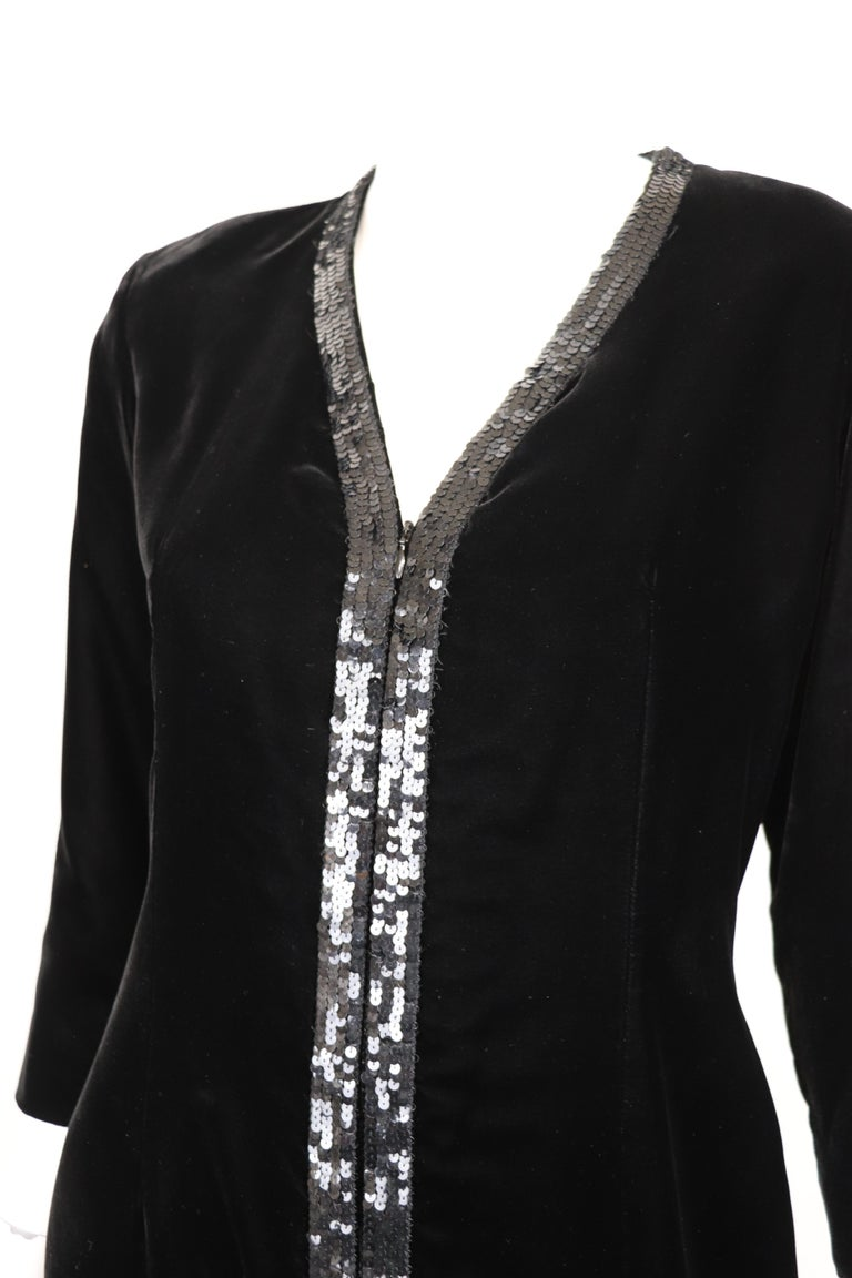 Yves Saint Laurent Rive Gauche Black Velvet & Sequins Gown 1970's For Sale 3