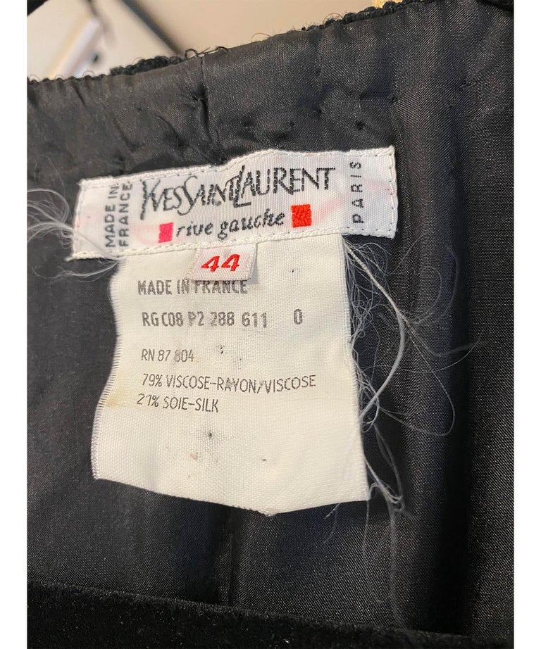 Yves Saint Laurent Rive Gauche Black Velvet & Sequins Gown 1970's For Sale 4