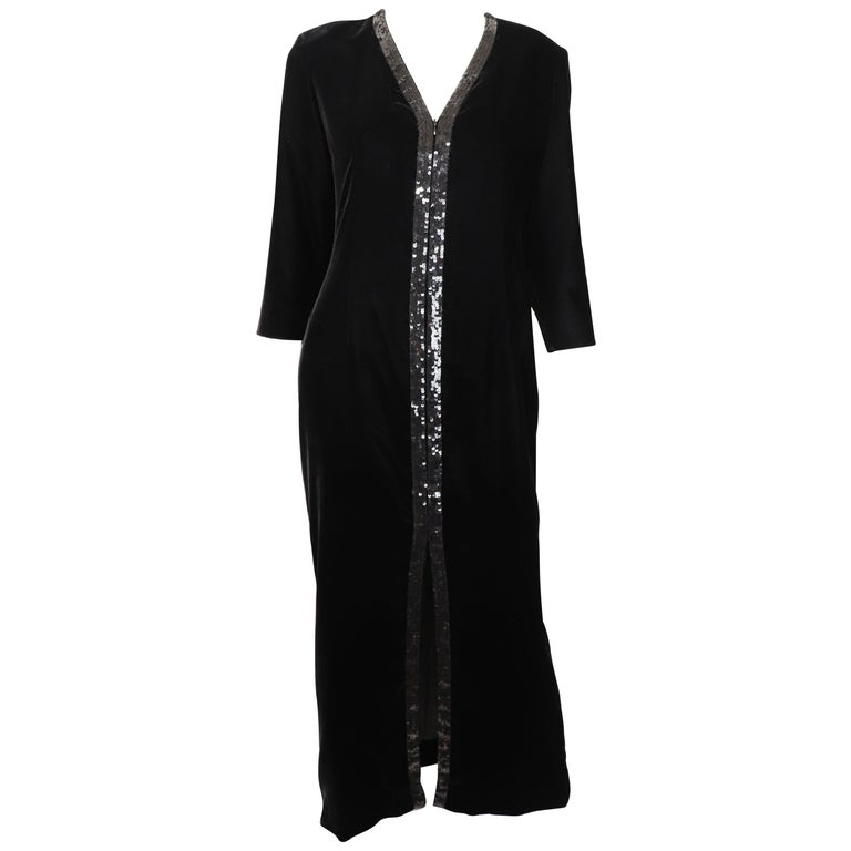 Yves Saint Laurent Rive Gauche Black Velvet & Sequins Gown 1970's For Sale