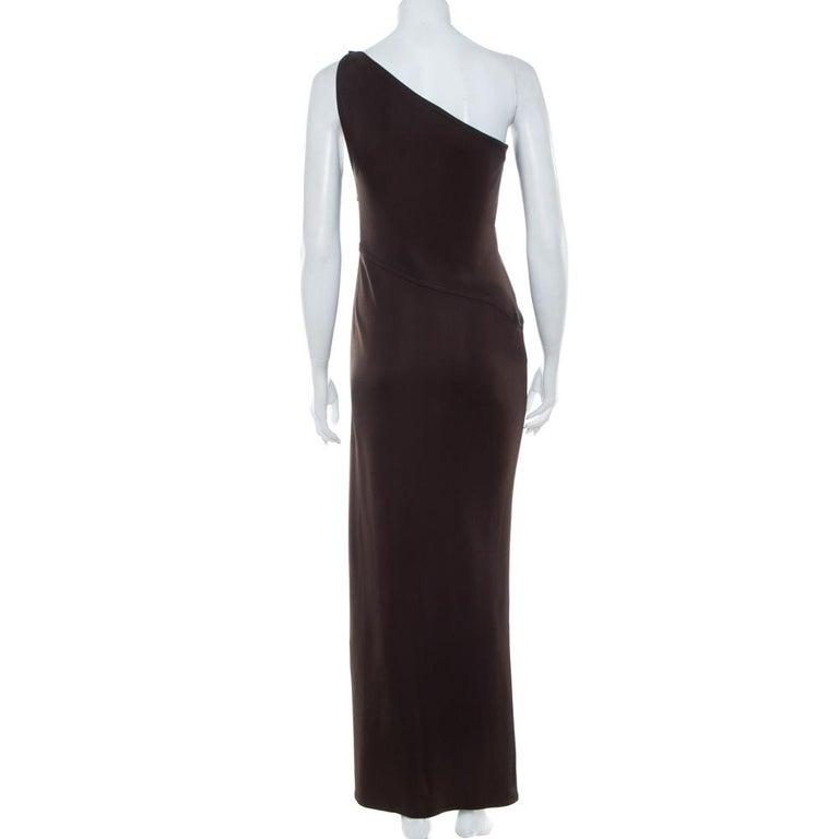 Black Yves Saint Laurent Rive Gauche Brown Knit One Shoulder Maxi Dress M For Sale