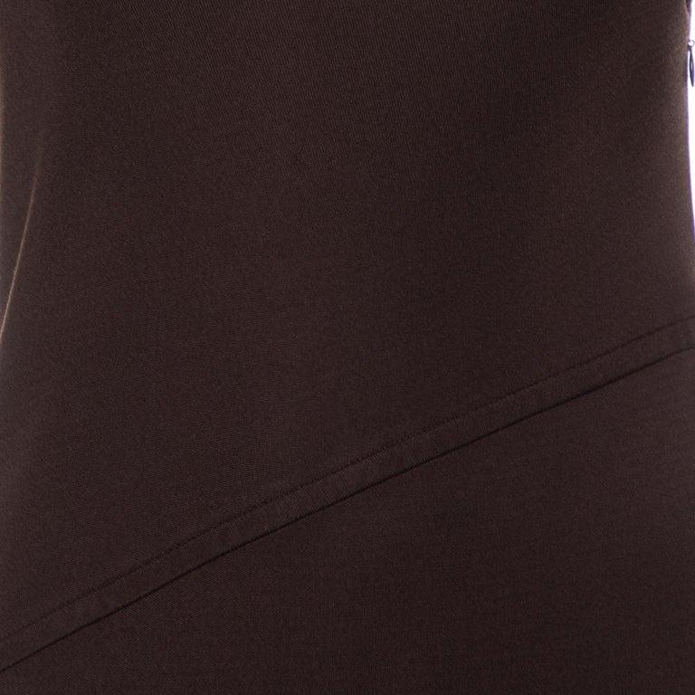 Yves Saint Laurent Rive Gauche Brown Knit One Shoulder Maxi Dress M In Good Condition For Sale In Dubai, Al Qouz 2