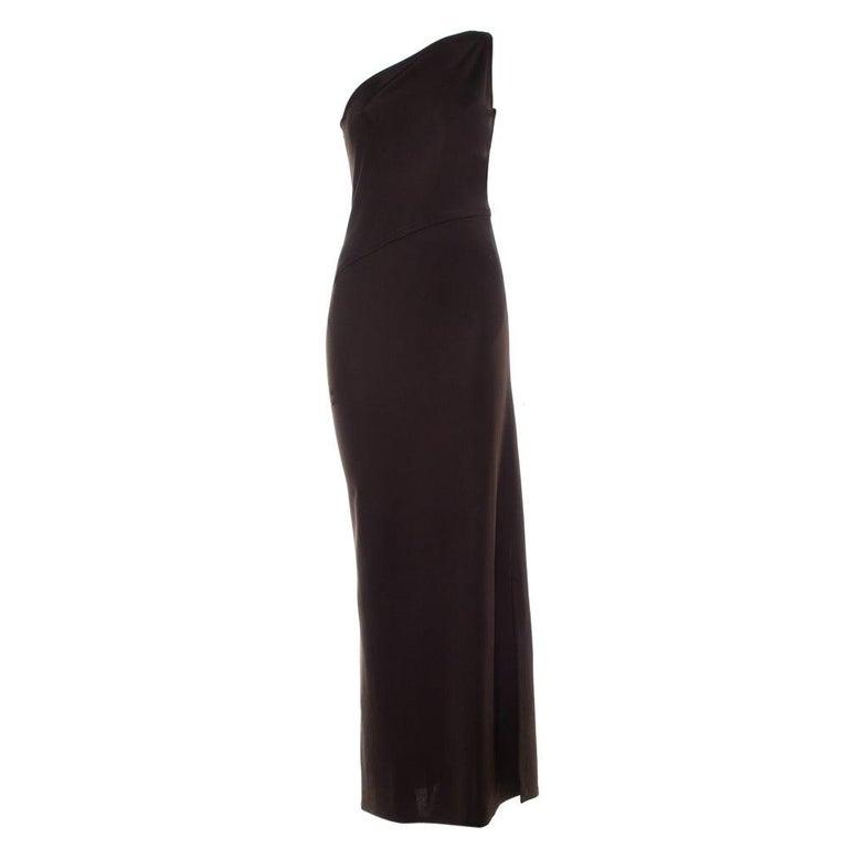 Yves Saint Laurent Rive Gauche Brown Knit One Shoulder Maxi Dress M For Sale