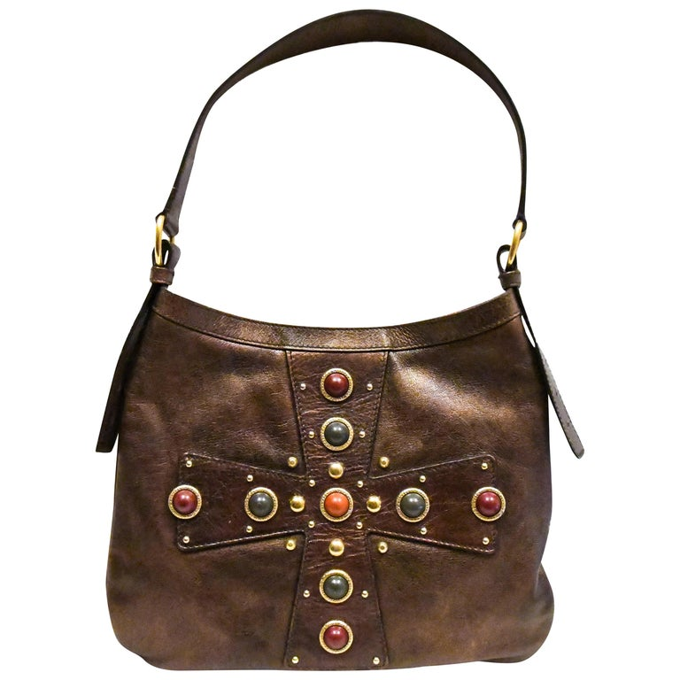Yves Saint Laurent Rive Gauche Brown Maltese Cross Cabochon  Shoulder Bag For Sale