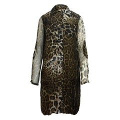 Yves Saint Laurent Rive Gauche Brown Printed Silk Shirtdress