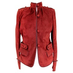 Yves Saint Laurent Rive Gauche Burgundy Leather Jacket 2000s Mandarin Collar