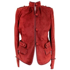 Yves Saint Laurent Rive Gauche Burgundy Leather Jacket 2000s Mandarin Collar