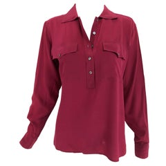 Yves Saint Laurent Rive Gauche Burgundy Silk Double Pocket Blouse 1970s