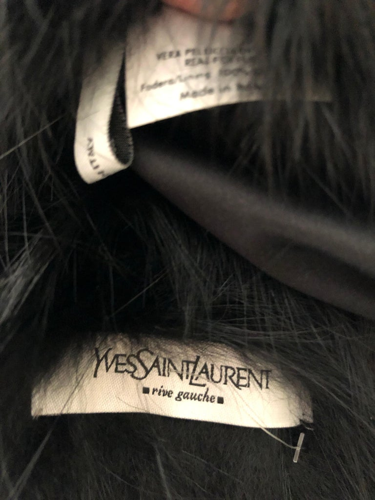 Yves Saint Laurent Rive Gauche by Tom Ford Black Fox Fur Wrap with Ribbon Ties 6