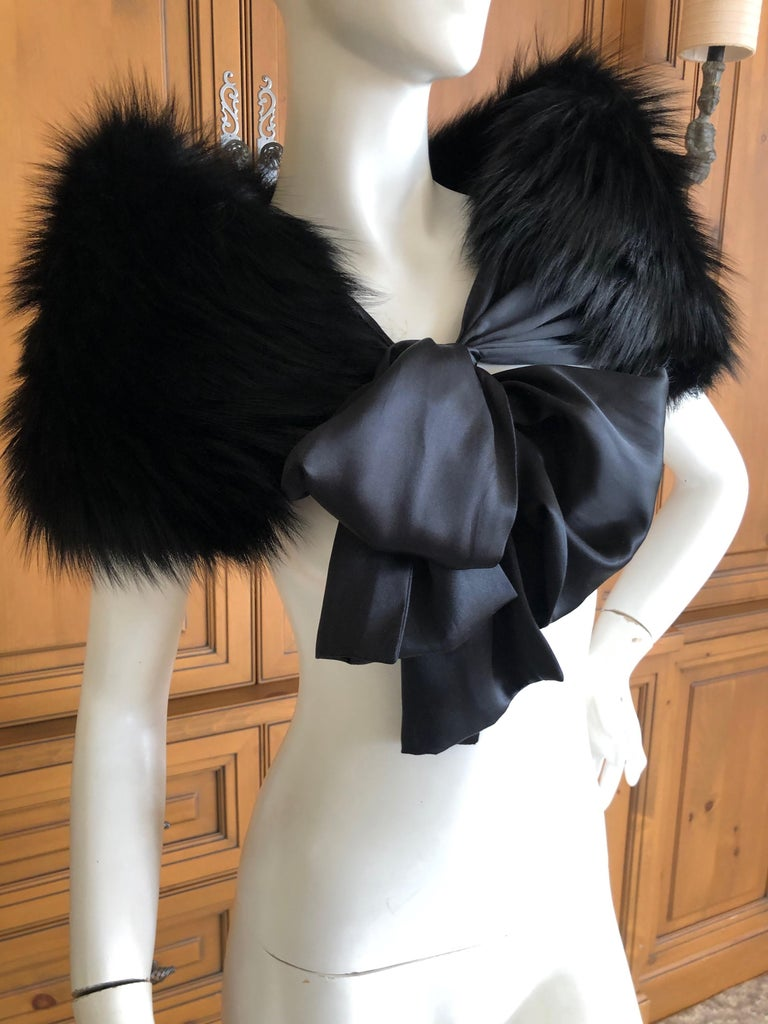 Yves Saint Laurent Rive Gauche by Tom Ford Black Fox Fur Wrap with Ribbon Ties In Excellent Condition In San Francisco, CA