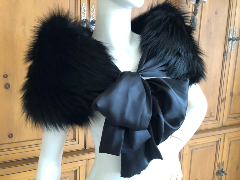 Women's or Men's Yves Saint Laurent Rive Gauche by Tom Ford Black Fox Fur Wrap with Ribbon Ties
