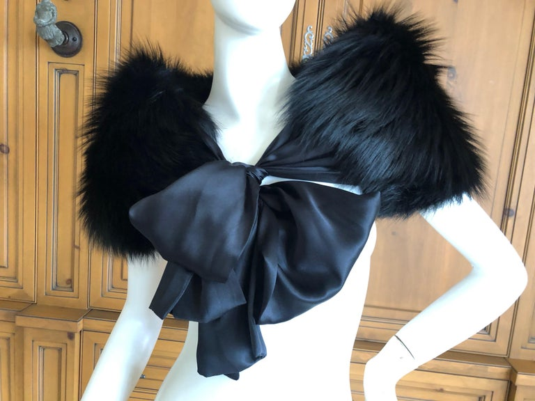 Yves Saint Laurent Rive Gauche by Tom Ford Black Fox Fur Wrap with Ribbon Ties 1