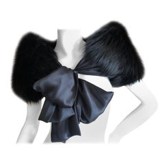 Yves Saint Laurent Rive Gauche by Tom Ford Black Fox Fur Wrap with Ribbon Ties