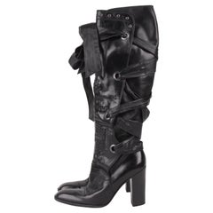 Yves Saint Laurent Rive Gauche by Tom Ford Black Laced Up Knee High Boots