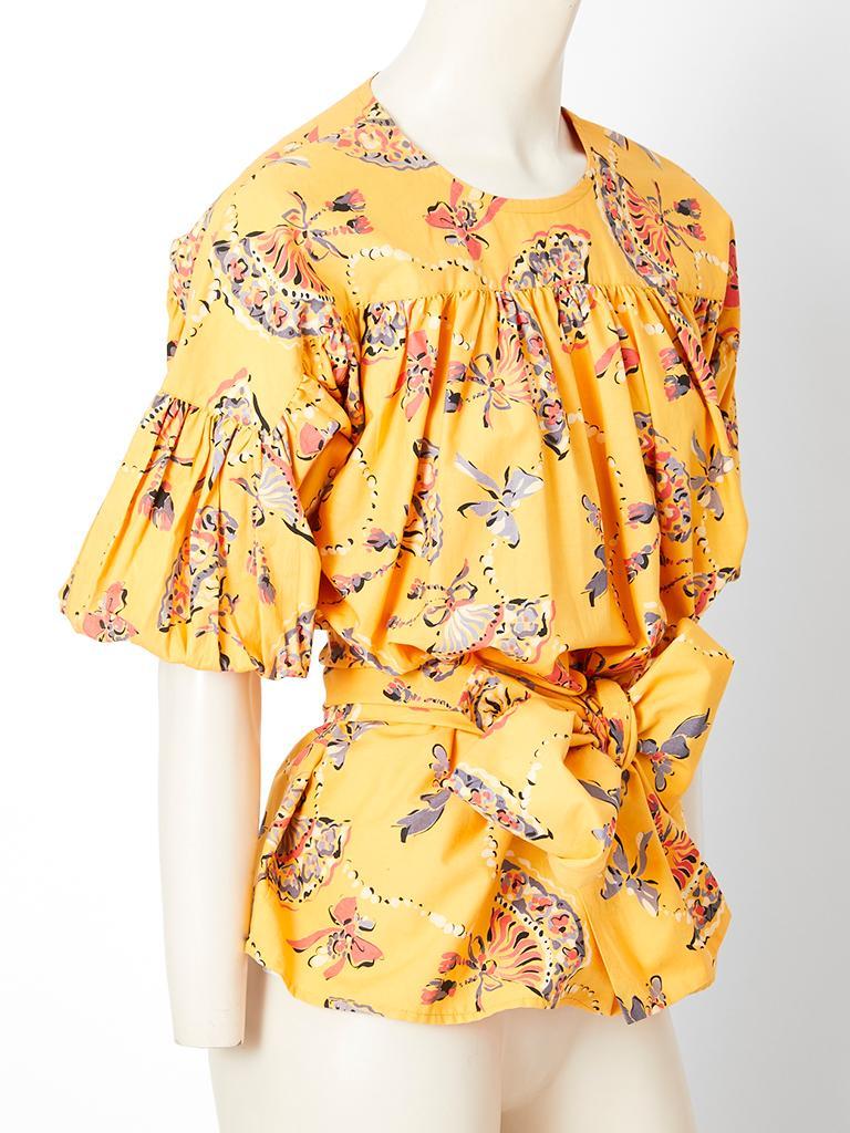 Orange Yves Saint Laurent Rive Gauche Cotton Fan Pattern Smock Blouse For Sale