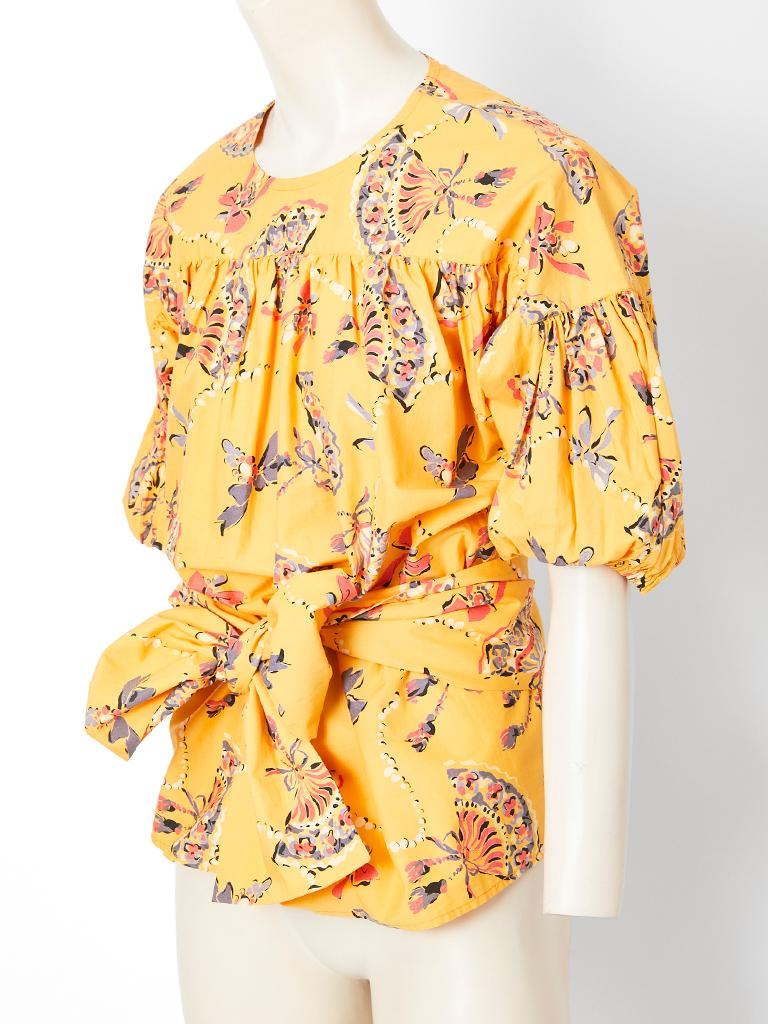 Yves Saint Laurent Rive Gauche Cotton Fan Pattern Smock Blouse In Good Condition For Sale In New York, NY