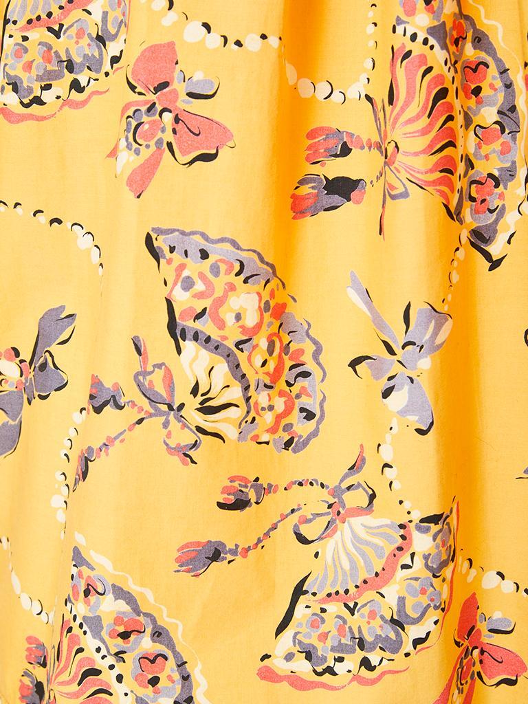 Women's Yves Saint Laurent Rive Gauche Cotton Fan Pattern Smock Blouse For Sale