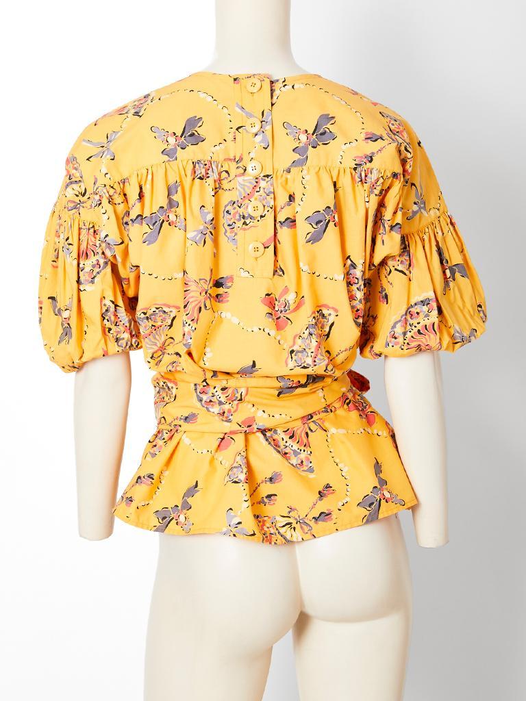 Yves Saint Laurent Rive Gauche Cotton Fan Pattern Smock Blouse For Sale 1