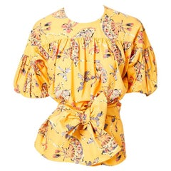 Yves Saint Laurent Rive Gauche Cotton Fan Pattern Smock Blouse