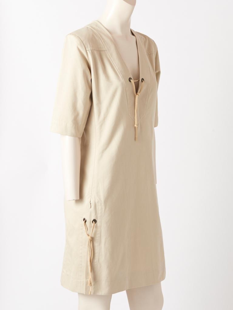 Beige Yves Saint Laurent RIve Gauche Cotton Safari Dress For Sale