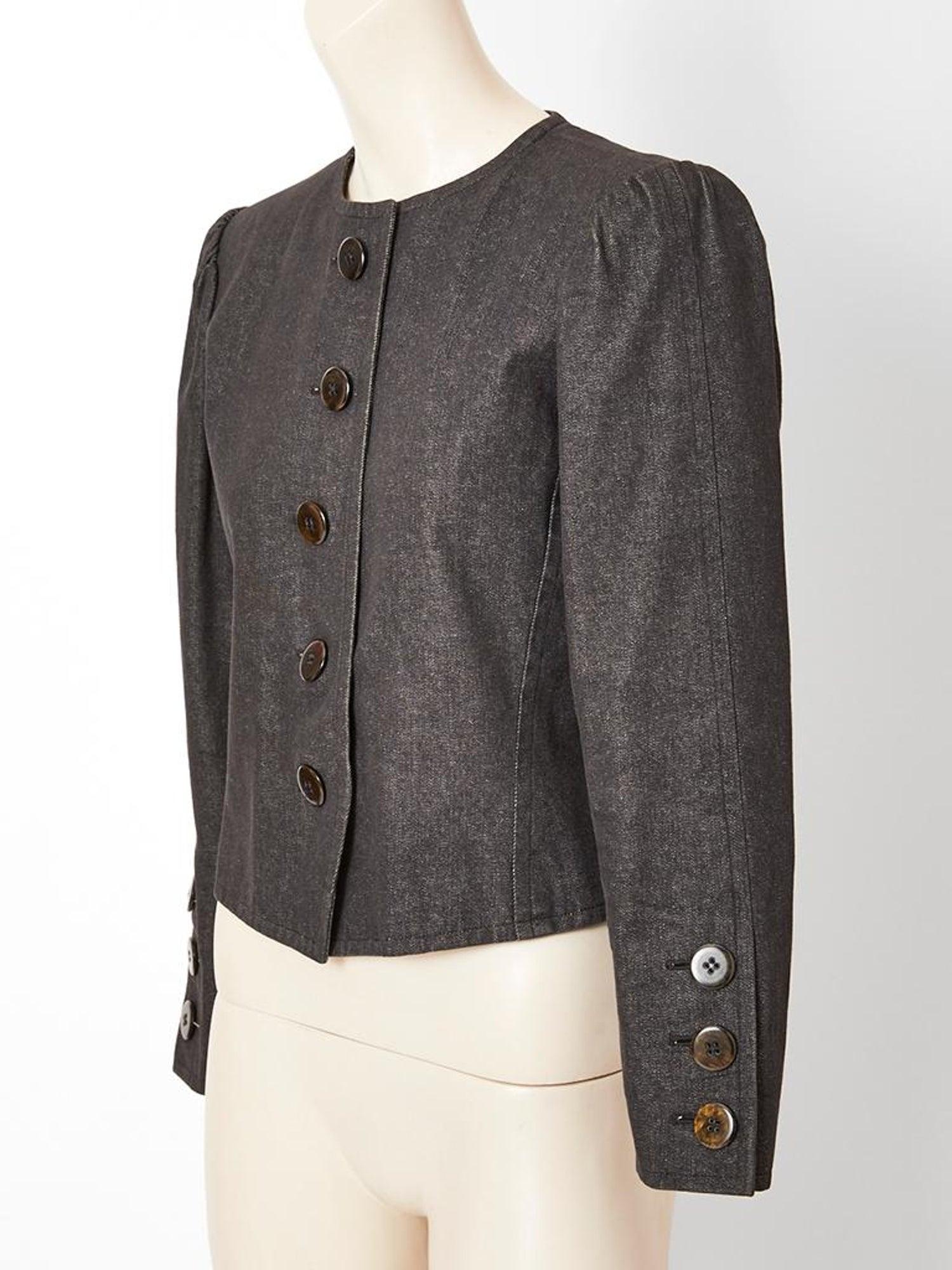 94bbc4525ed Yves Saint Laurent Rive Gauche Cropped Denim Jacket For Sale at 1stdibs
