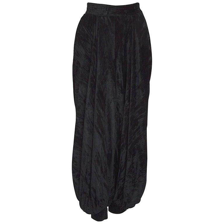 """Yves Saint Laurent """"rive Gauche"""" documented black crushed velvet harem pants  For Sale"""