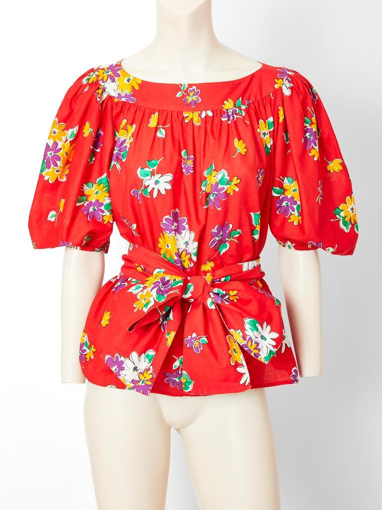 Yves Saint Laurent Rive Gauche Floral Pattern Cotton Skirt
