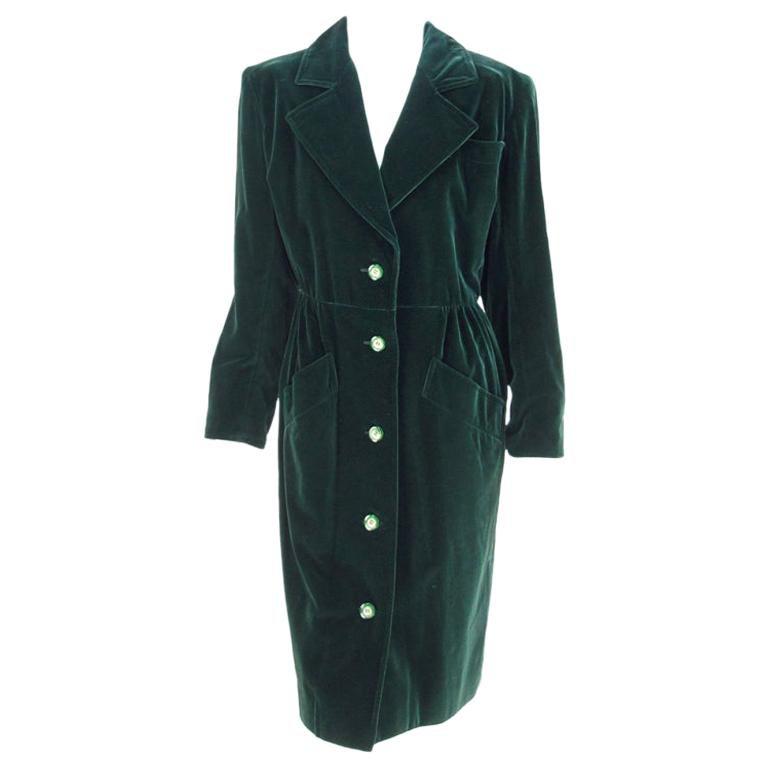 Yves Saint Laurent Rive Gauche Forest Green Velvet Coat or Dress Vintage