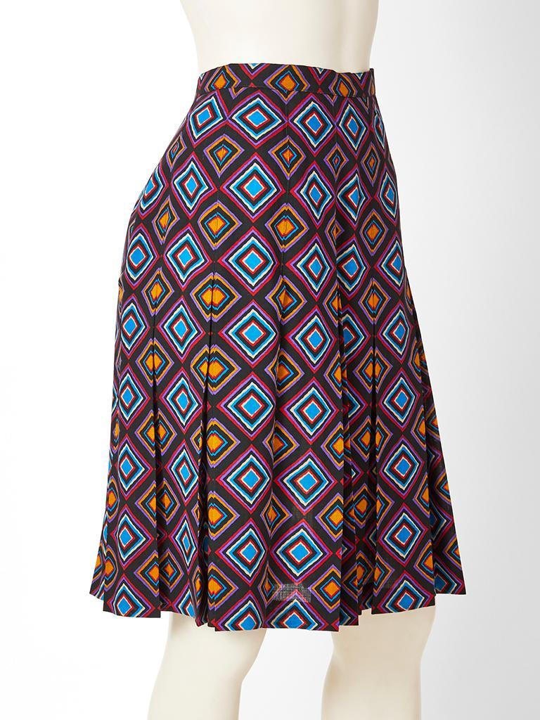 Black Yves Saint Laurent Rive Gauche Geometric Print Wool Challis Skirt For Sale